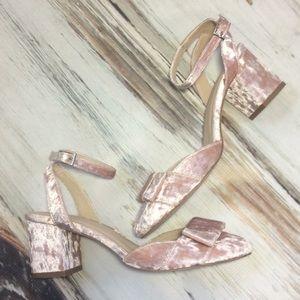 ASOS blush pink ankle strap heels crushed velvet 6